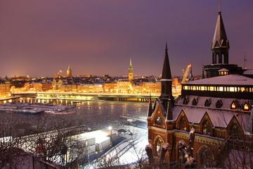 Stockholm by night panorama