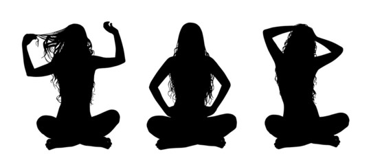 young beautiful woman in lotus posture silhouettes set