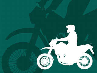 Fototapete - motorcyclist silhouette on the  abstract background - vector