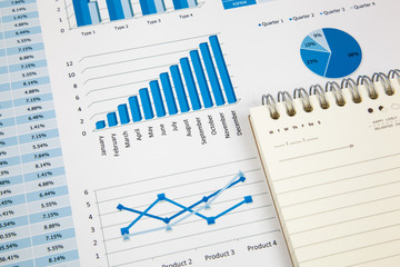Financial paper charts and graphs