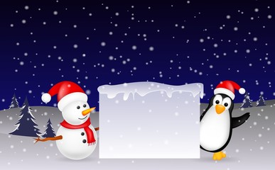 snowman and penguin Christmas with blank sign