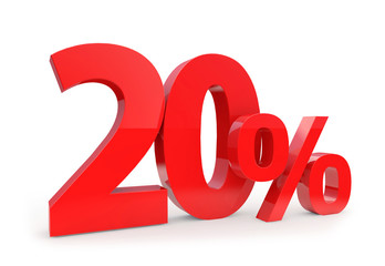 20 percent in red letters