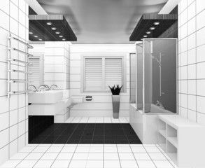 white black bathroom