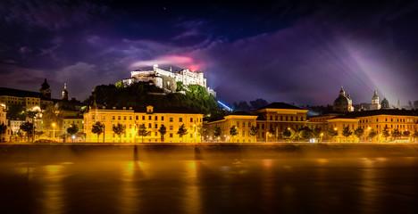 Night view of Salzburg, Austria .