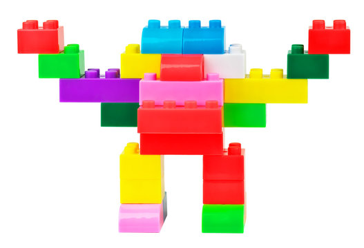 Toy robot made from toy plastic colorful blocks
