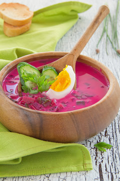 cold summer soup with beetroot. Soup, hash.