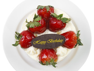 butter cream cake with strawberry & birthday chocolate plate, in