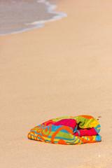 Towel beach. Copy space composition