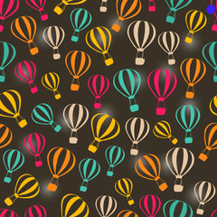 Seamless Dark Retro Pattern with Striped Hot Air Balloons