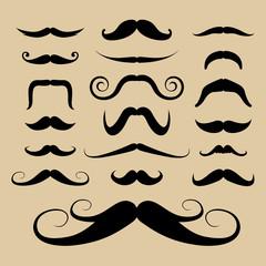 Set of black mustaches. Illustration eps10