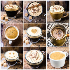 Coffee collage with Coffee espresso, cappuccino, latte and mocha