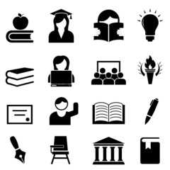 College, university and higher education icon set