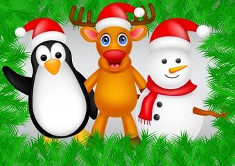 deer,penguin and snowman christmas