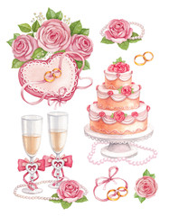 Watercolor wedding illustrations