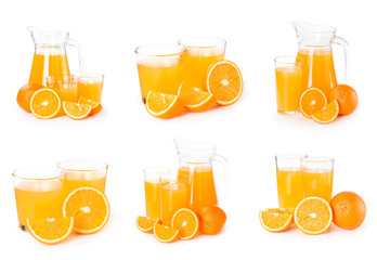 Wall Mural - Set of orange juice