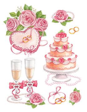 Watercolor wedding illustrations