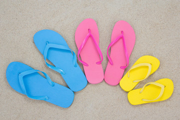 pair of flip flops on the beach sand