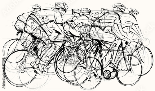 Wall mural cyclists in competition