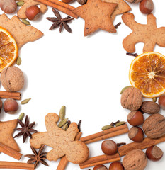 Christmas cookies and spices border