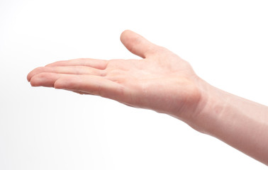 isolated young caucasian open hand