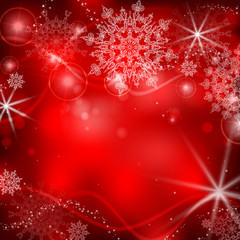 Red background with snowflakes.