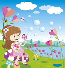 Girl blowing bubbles in the flowers garden