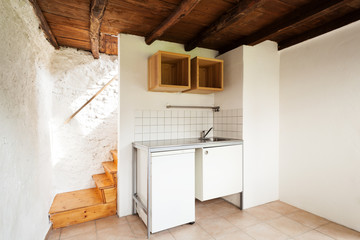 interior rustic house, corner with sink and refrigerator