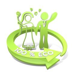 3d render of a wedding marriage sign  a 100 percent eco