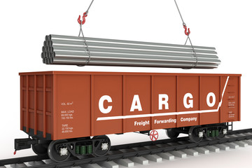 Loading pipes in rail wagon