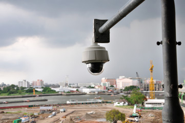 Security CCTV camera for monitors construction site area.