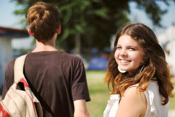 Happy smiling teenage girl portrait