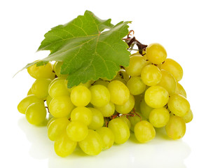 Ripe delicious grapes isolated on white