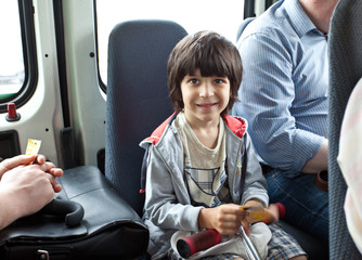 child in a public transport