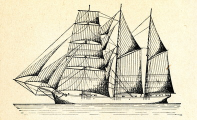 Three-masted schooner