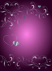 Background with ornament and hearts