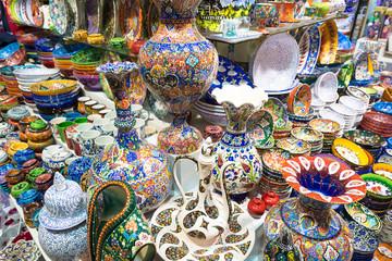 Turkish ceramics in the Grand Bazaar in Istanbul, Turkey