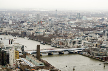 Bridges over the River Thames, aerial view