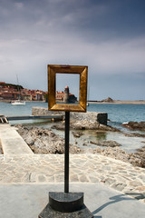 Collioure seen through a golden frame
