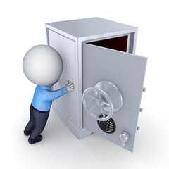 3d small person and iron safe.