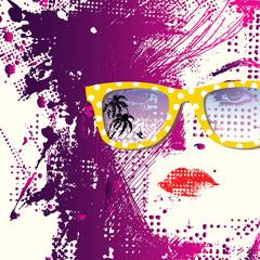 Spoed Foto op Canvas Vrouw gezicht Women in sunglasses