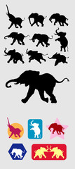 Elephant Running Silhouettes