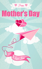 Happy Mothers Day and origami airplane