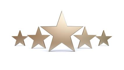 3D Platin/Silver Five Stars