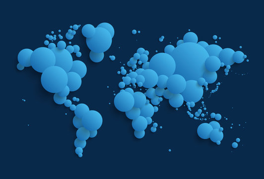 Abstract world map made of spheres - blue version. EPS10.