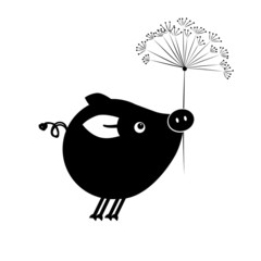 Flying piggy with flower for your design