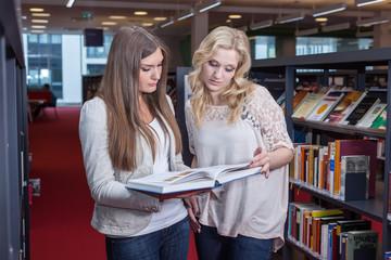 2 Damen schauen in ein Buch in Bibliothek