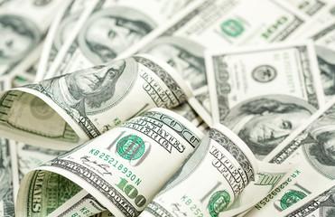 American hundred dollars bills heap