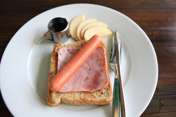 french toast with ham and sausage