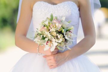 Bride with White Wedding Bouquet
