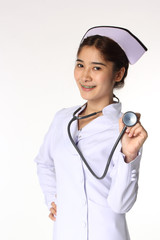 Nurse with a stethoscope on the white background.